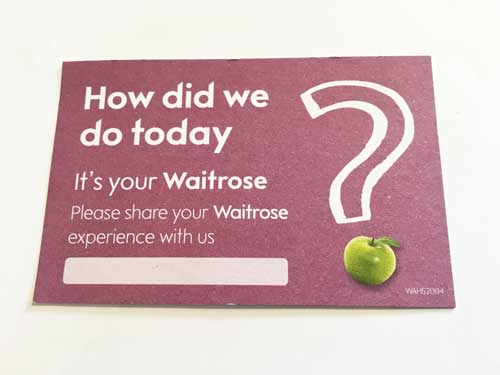 Waitrose Customer Service Business Card Front