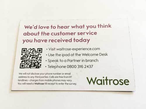 Waitrose Customer Service Business Card Reverse